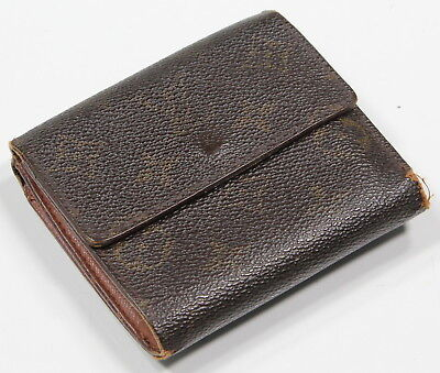 * LOUIS VUITTON * Brown LV Monogram Auth TH0948 Snapped Trifold Leather (Snapped Billfold)