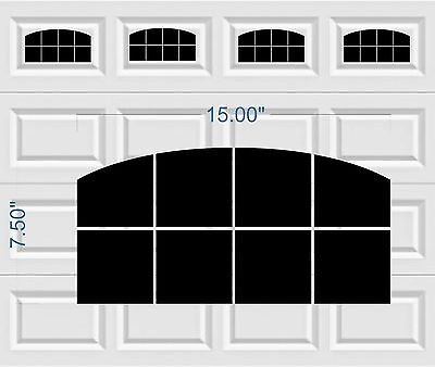 Carriage House Arched Window Style Faux Garage Door Vinyl Decals Fits 8 x 15