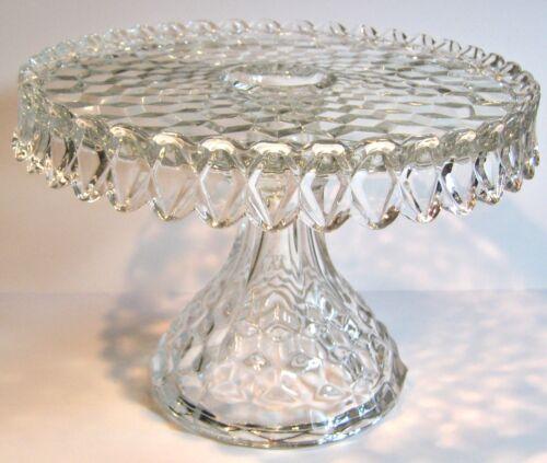 "Fostoria American Cake Stand Pedestal Plate Rum Well Round 10"""