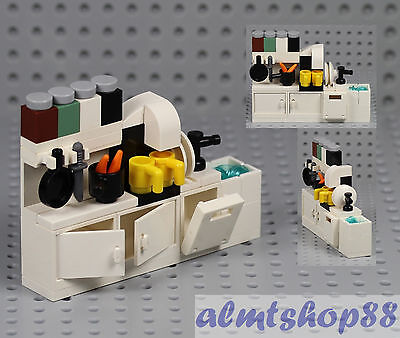 LEGO - Kitchen Cupboard w/ Sink Dishwasher Coffee Maker Cabinet Minifigure Food