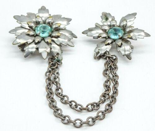"Vintage Blue Rhinestone Sweater Clip Silver tone Flowers 6"" Double Brooch"