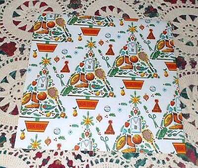 VTG CHRISTMAS WRAPPING PAPER GIFT WRAP FOR HIM SPORTS TREE MAN DAD BOY 1950 NOS ()