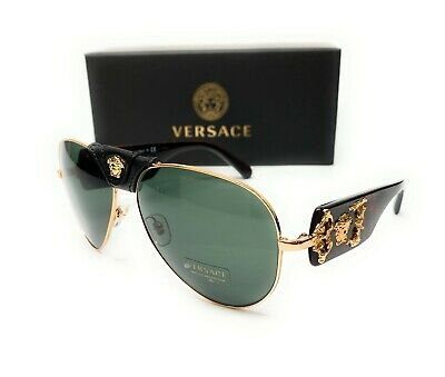 Versace VE2150Q 1002 71 Gold Grey Green Lens Men's Pilot Sunglasses 62mm