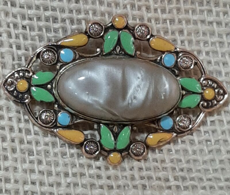 Art Nouveau Enameled Brass Brooch  Beautiful vtg Pin