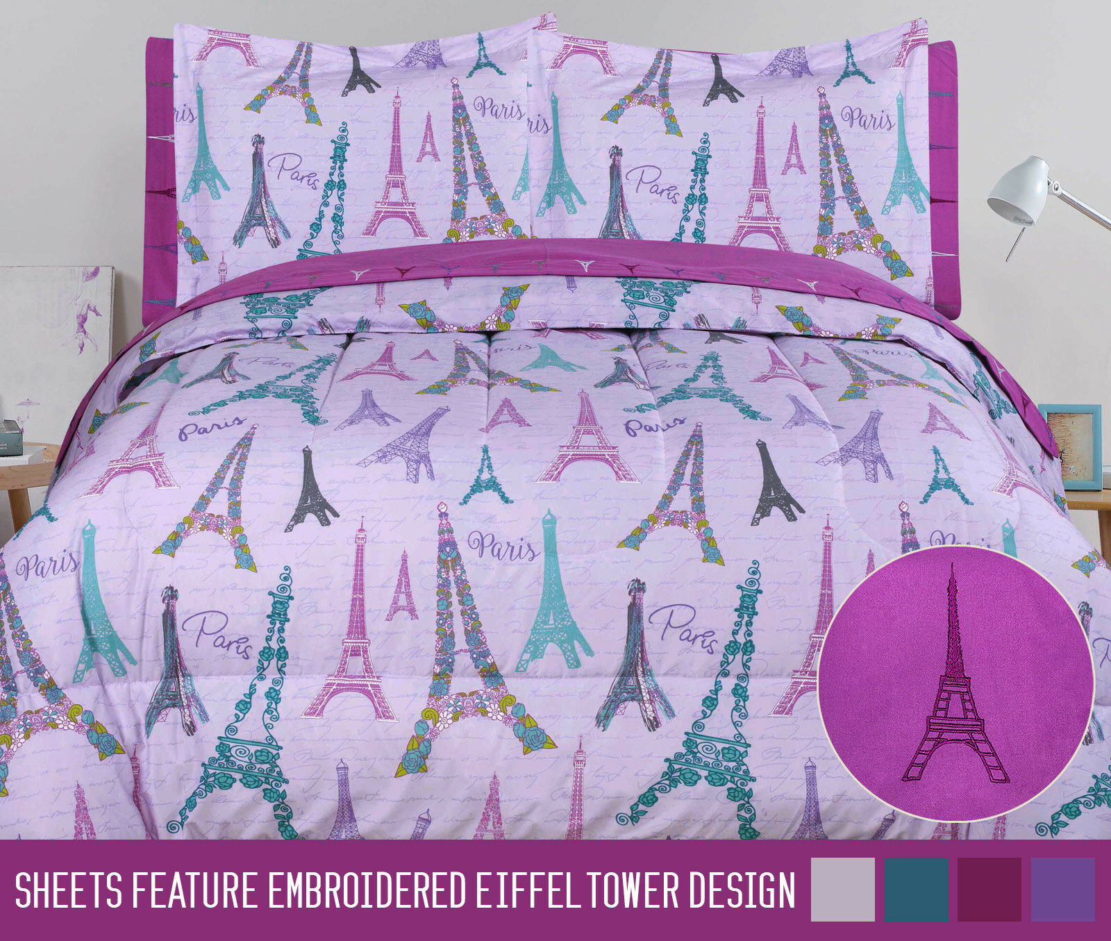 Twin Full Queen Paris Comforter and Sheet Purple Eiffel Tower Bed in a Bag Set Bedding