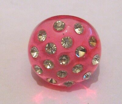 Pink Transparent Ring - Lovely transparent pink fashion style ring with white stones size Q