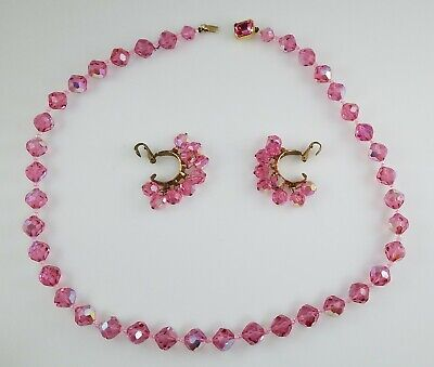 1950s Jewelry Styles and History 1950's Unsigned Vendome Style Pink AB Crystal Necklace and Earrings $17.99 AT vintagedancer.com