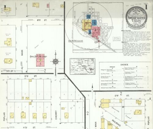 Bridgewater,  South Dakota~Sanborn Map© sheets~11 maps~ on a CD in full color