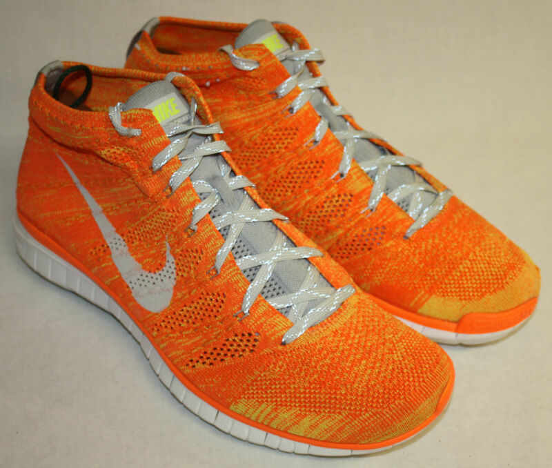 Mens Nike Free Flyknit Chukka Neon Orange Yellow Athletic Sneakers Shoes Sz 12M