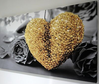 YELLOW OCHRE HEART BLACK AND WHITE CANVAS WALL ART PICTURE 18 X 32 INCH FRAMED