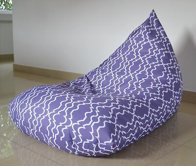 Purple In/ OUTDOOR BEAN BAG Cover, WATERPROOF, geometric ikat pattern (Geometric Bean Bag)