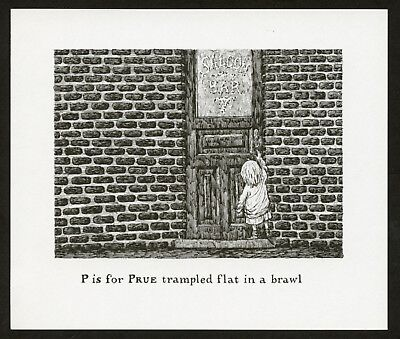 Edward Gorey illustration P IS FOR PRUE Gashlycrumb Tinies macabre art print for sale  Shipping to Canada