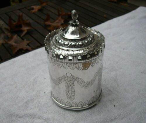 Early 18th C SILVER CANISTER TEA CADDY-Chased Designs-Gallery Edge-Marked-NR