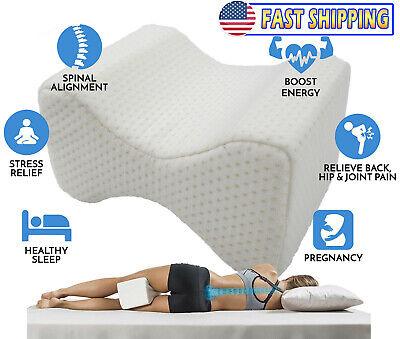 Orthopedic Knee Memory Foam Pillow - Ergonomic Wedge & Lumbar Alignment for Side