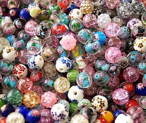 20-100-Mix-Flower-Round-Jewellery-Making-Beads-Lampwork-Porcelain-8mm-10mm-12mm