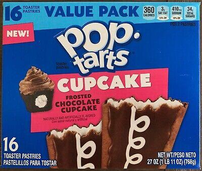 NEW KELLOGGS POP TARTS CUPCAKE FROSTED CHOCOLATE 27 OZ BOX 16 TOASTER PASTRIES Chocolate Pop Tarts