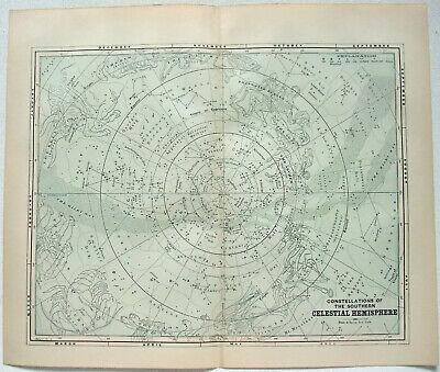 Original Celestial Star and Solar System Map 1891 - Southern Hemisphere
