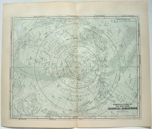 Original Celestial Star and Solar System Map 1891 - Southern Hemisphere