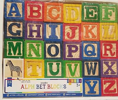 26 Alphabet Wooden Baby Blocks Learn Create Build Motor Skills Match Colors