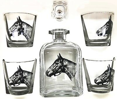 Seabiscuit Whiskey Decanter Set With Tapered Old Fashion Highball Glasses