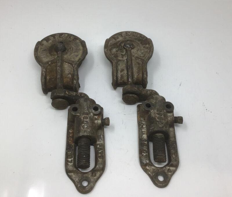 2 Vintage Myers 3348 Metal Barn Door Roller Hardware Pat 1907 Free Ship