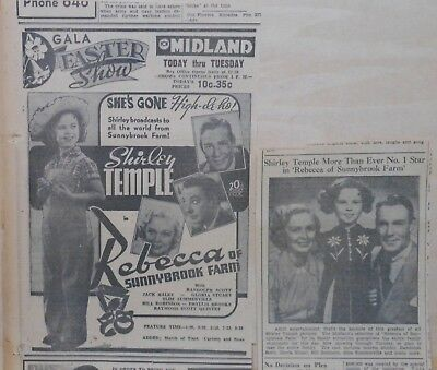 Two 1938 newspaper ads for Rebecca of Sunnybrook Farm - Shirley Temple movie