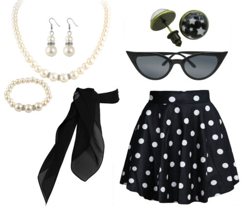 1950s Polka Dot Style Scarf Glasses Headband and Earrings Accessories Set
