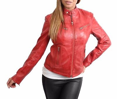 Womens biker real leather jacket RED slim fit zip up best TOP QUALITY coat