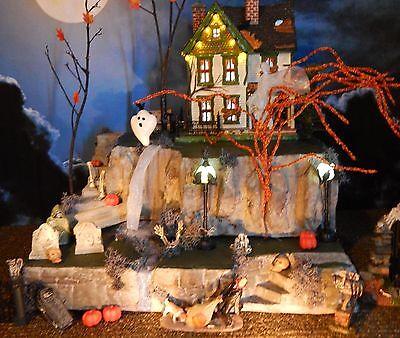 .Haunted 2 WATERFALLS Halloween Village 2 pc DISPLAY platform base Dept 56 Lemax](Halloween Village Collection)