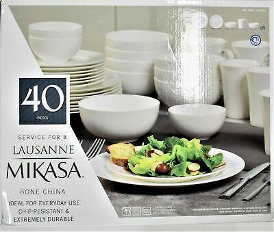 Mikasa Lausanne White 40 Piece Bone China Dinnerware Set Opened Box