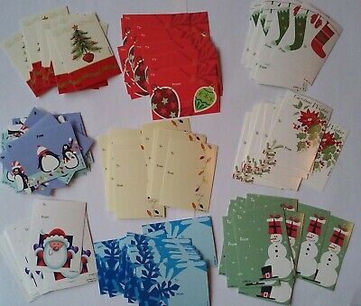30 Christmas Holiday Gift Tags Classic To: From: Snowman Santa Penguin Stockings