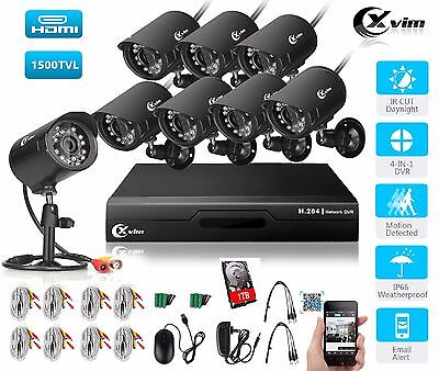 XVIM Home Security Camera System 8CH 1080N DVR Outdoor Night Vision CCTV Kit 1TB