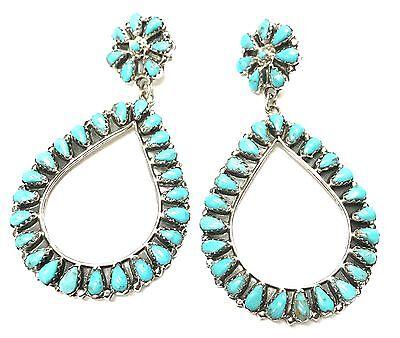 Navajo Handmade Turquoise Sterling Silver Cluster Post Earrings By Mathilda B