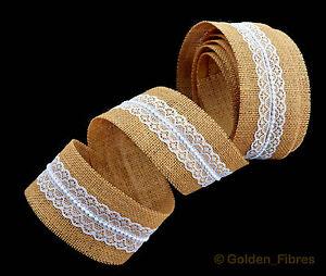 Natural-Bridal-Hand-Made-Lace-Burlap-Jute-Hessian-Ribbon-Rustic-Wedding-Favours