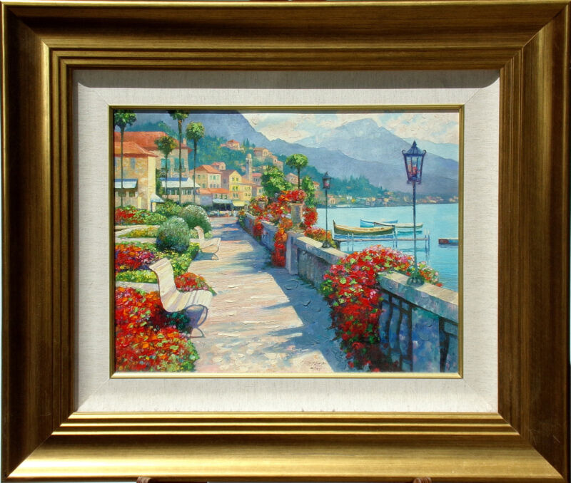 "Howard Behrens ""Along Lake Como I"" Hand Embellished Signed Art Giclee on Canvas"