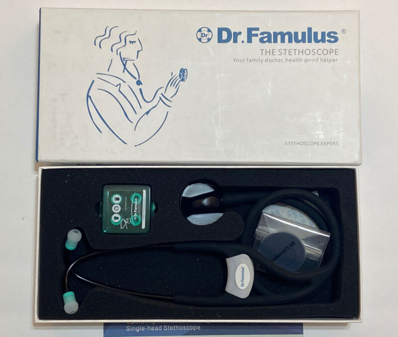Dr Famulus Stethoscope - DR-650 DR650 -Black Single Frequency Audio Stethoscope