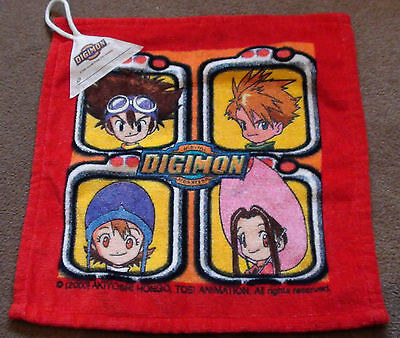 RARE DIGIMON HAND TOWEL / FLANNEL - YEAR 2000 BRAND NEW NEVER USED