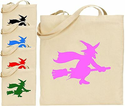 Witch On Broom Stick Halloween Large Cotton Tote Bag Scary Trick Treat Spooky (Halloween Broom Bags)