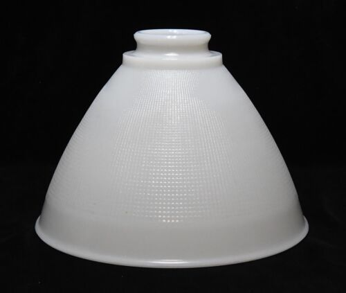 VINTAGE WAFFLE PATTERN MILK GLASS  TORCHIERE LAMP LIGHT SHADE 8 INCH