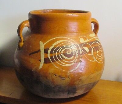 Mexican ART RED CLAY STONEWARE utility pot HANDMADE 7.5