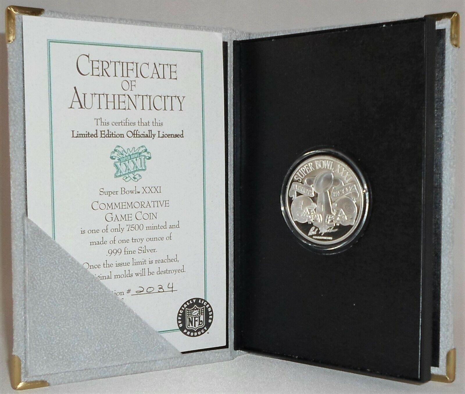 Super bowl xxxi official commemorative game coin 1 oz. .999 silver 1 of 7500