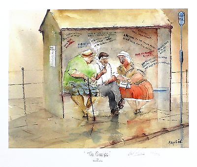 "DES BROPHY ""The Gossips"" pensioners bus stop SGD LTD ED SIZE:33cm x 40cm NEW"