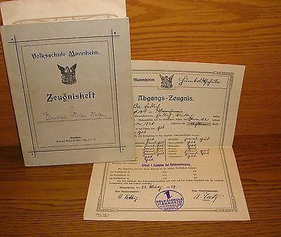 Zeugnisheft Volksschule Mannheim 1920er Jahre ()