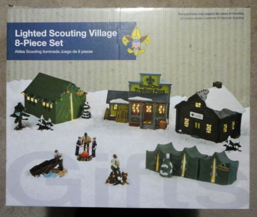 Boy Scouts of America 8-Piece Lighted Christmas Village Set