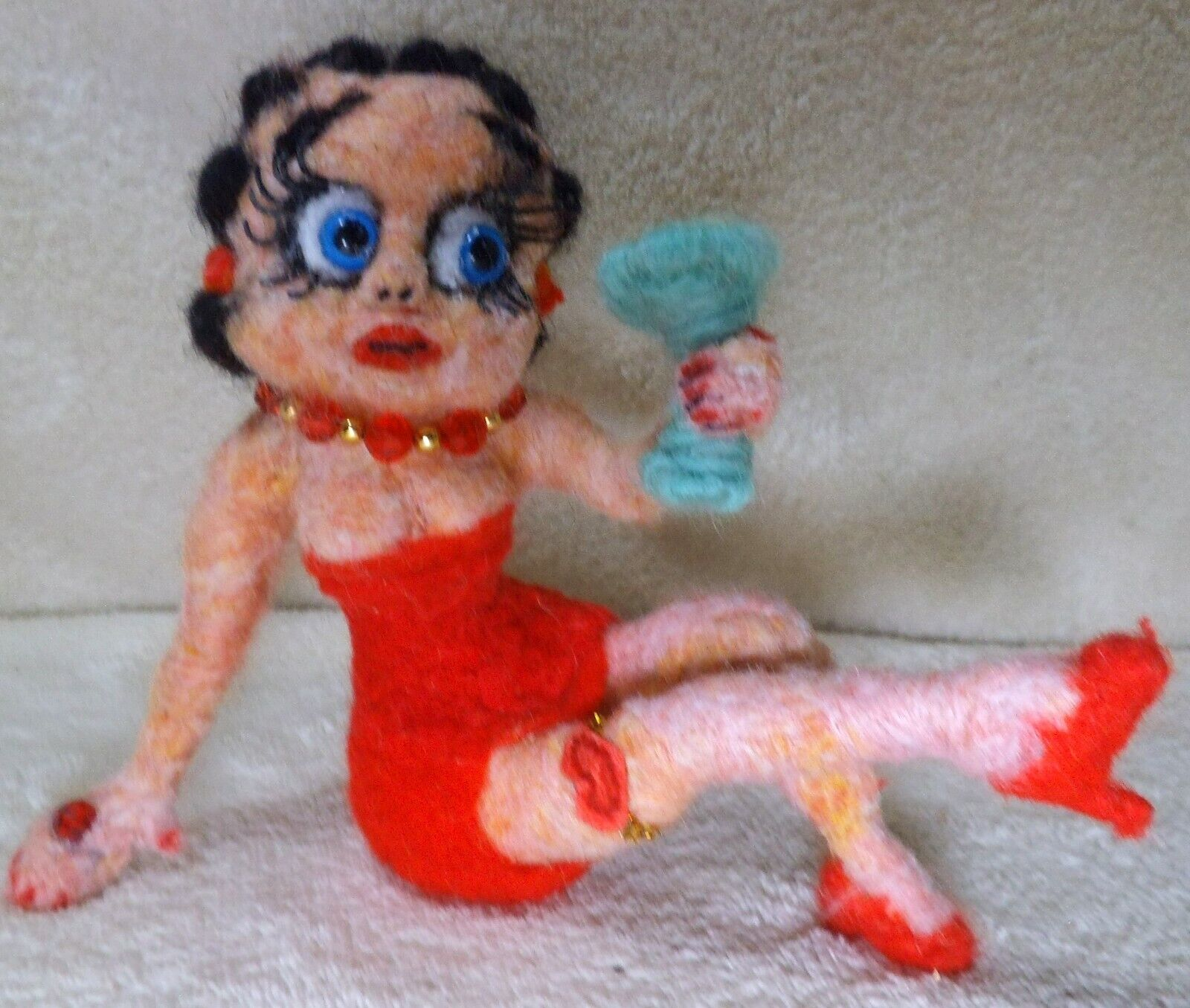 OOAK Needle Felted Artist Handcraft / Handmade Betty Boop - $47.00
