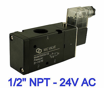 Pneumatic 3 Way Air Electric Directional Control Solenoid Valve 12 Inch 24v Ac
