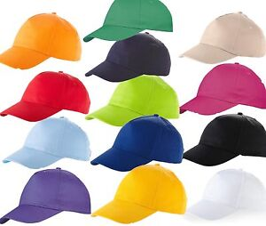 US-BASIC-100-COTTON-BASEBALL-CAP-HAT-8-COLOURS