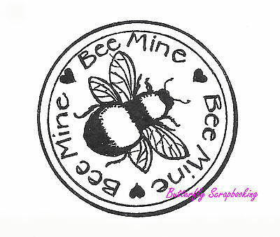 Bee Mine (Bee Mine Circle With Bee, Wood Mounted Rubber Stamp NORTHWOODS - NEW,)