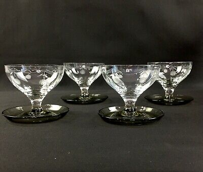 Set of 4 Clear Glass Cut Etched Cherry Grapefruit Dessert Bowl Footed Spoon Rest Cherry Spoon Rest