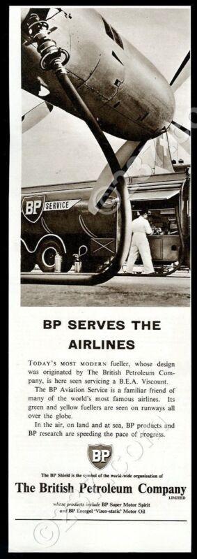 1956 Swissair plane BP aviation fuel truck photo UK vintage print ad